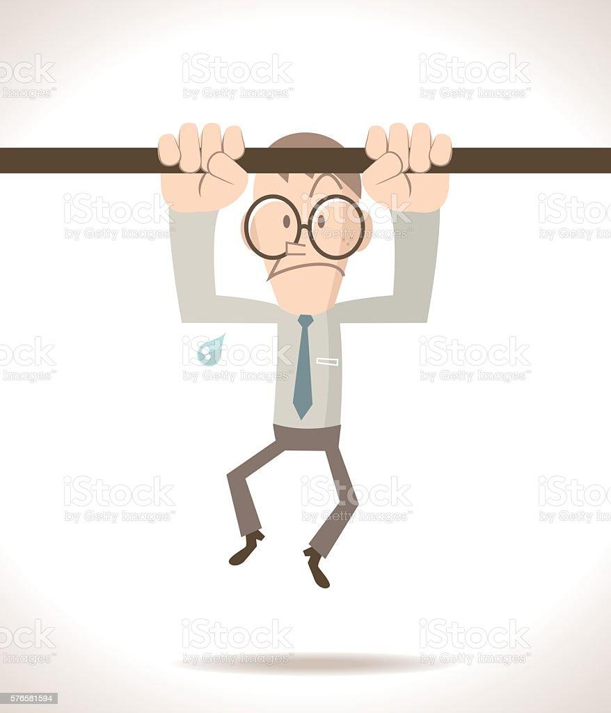 Businessman (teacher) doing pull-up on horizontal bar vector art illustration