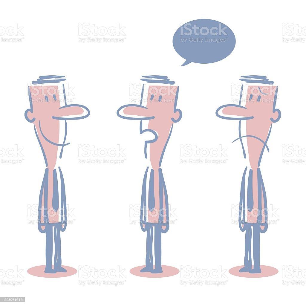 Businessman (teacher) Doodle Emotion, Talking, Smiling, Angry, Sad vector art illustration