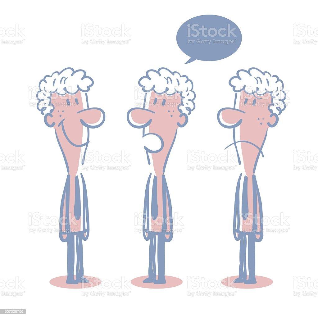 Businessman (Teacher, Adult Student) Doodle Emotion, Talking, Smiling, Angry, Sad vector art illustration