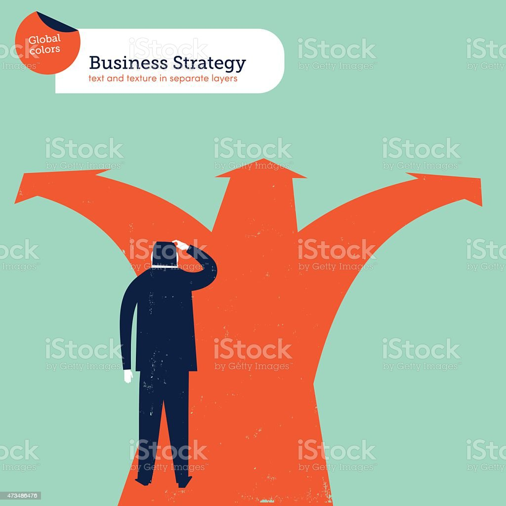 Businessman doubting in a crossroad which path is best vector art illustration
