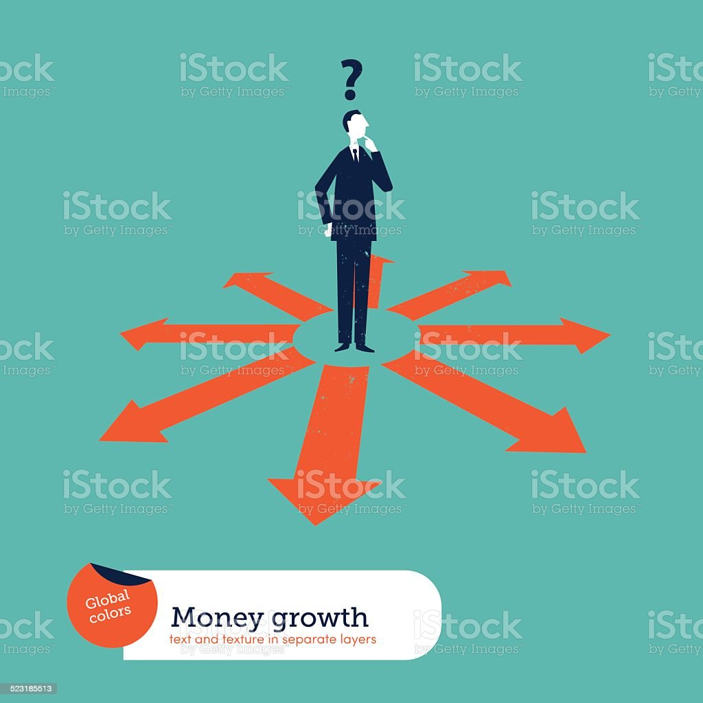 Businessman doubting which direction is the best. vector art illustration