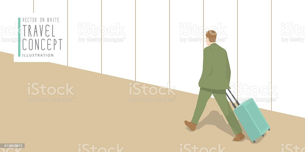 Businessman dragging a suitcase at the airport banner flat vecto vector art illustration