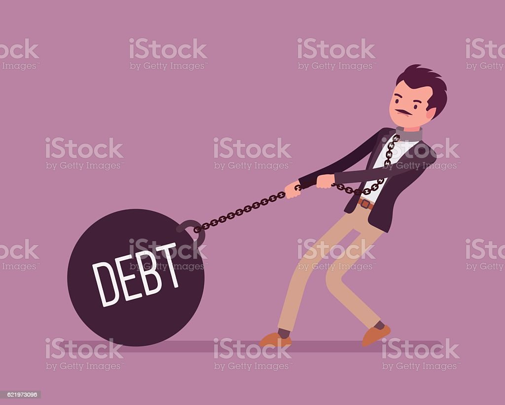 Businessman dragging a weight Debt on chain vector art illustration
