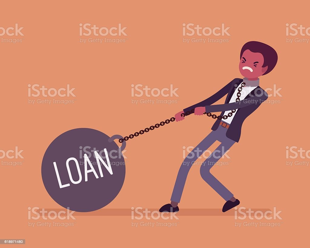 Businessman dragging a weight Loan on chain vector art illustration