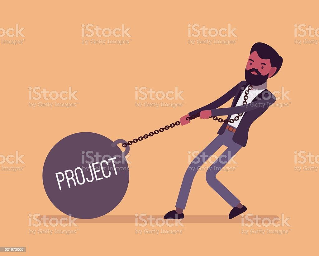 Businessman dragging a weight Project on chain vector art illustration