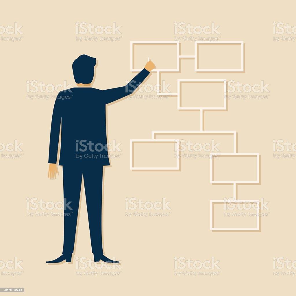 Businessman Drawing A Flow Chart vector art illustration