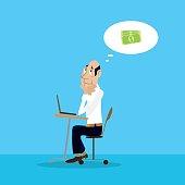businessman dreams of money