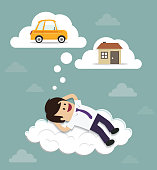 Businessman dreams on clouds