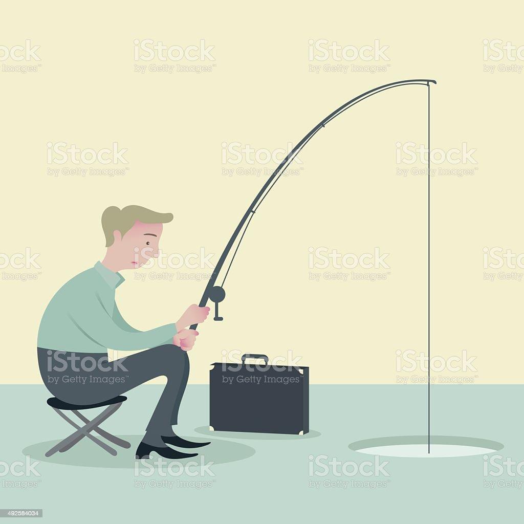Businessman drilling ice fishing. vector art illustration