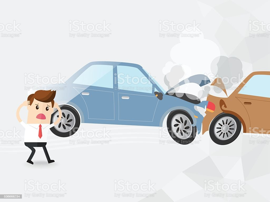 businessman driver shocked auto accident two cars, vector art illustration