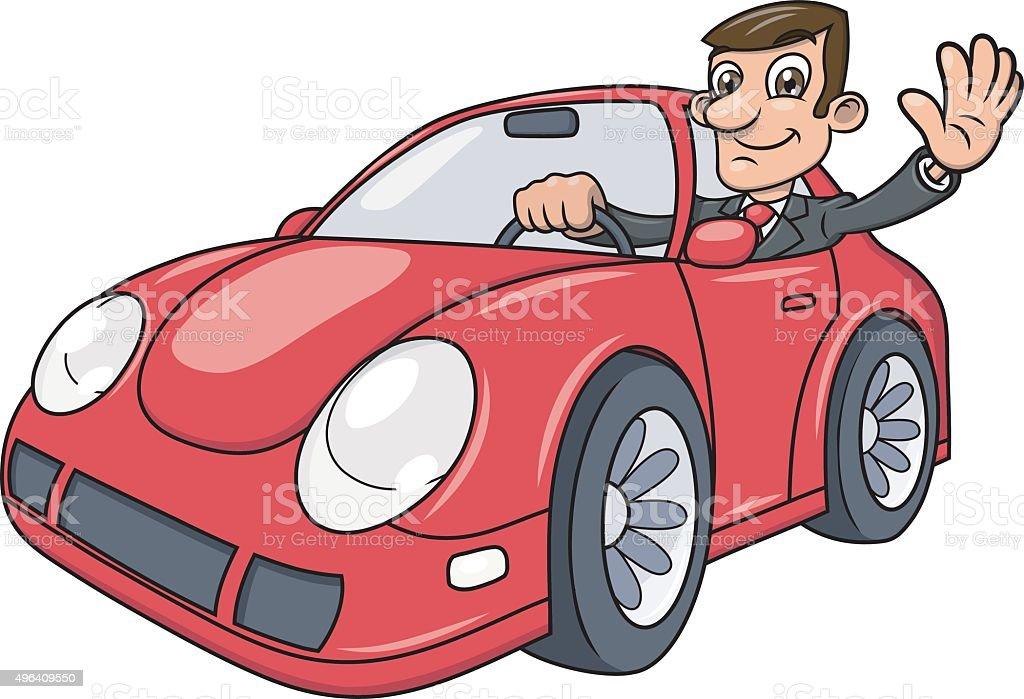 Businessman driving car 4 vector art illustration