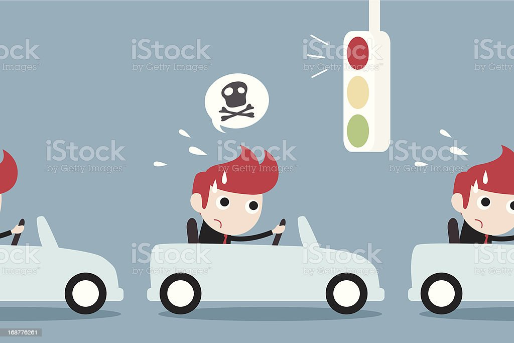 businessman driving car with traffic jam royalty-free stock vector art