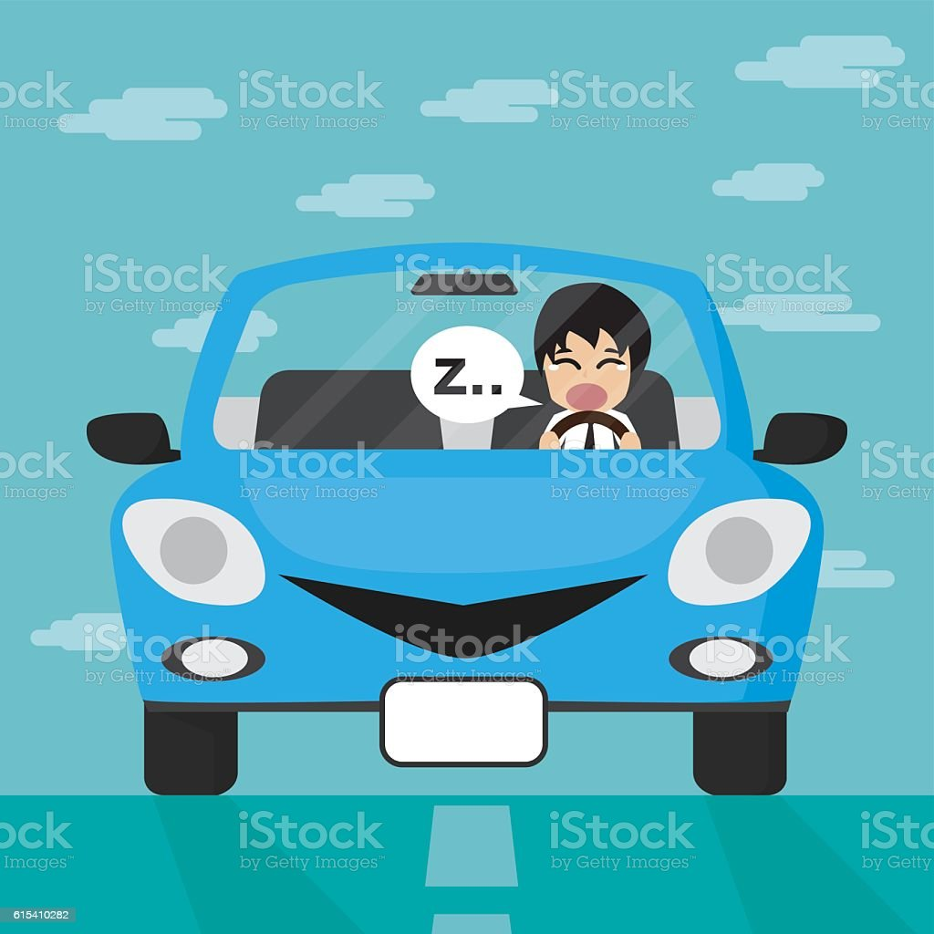 Businessman driving in blue car with sleepy enotion. vector art illustration