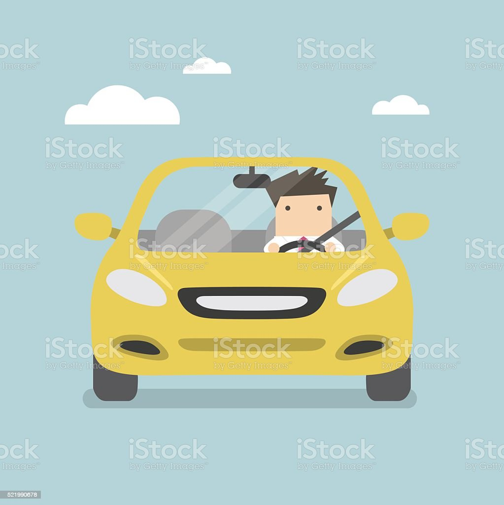 Businessman driving yellow car on the road vector art illustration