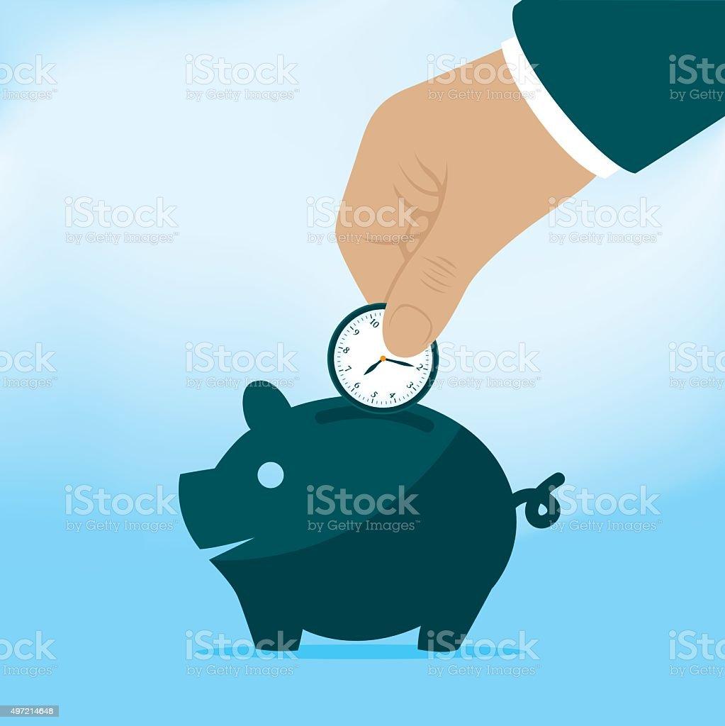 Businessman Dropping Clock Into Piggy Bank vector art illustration