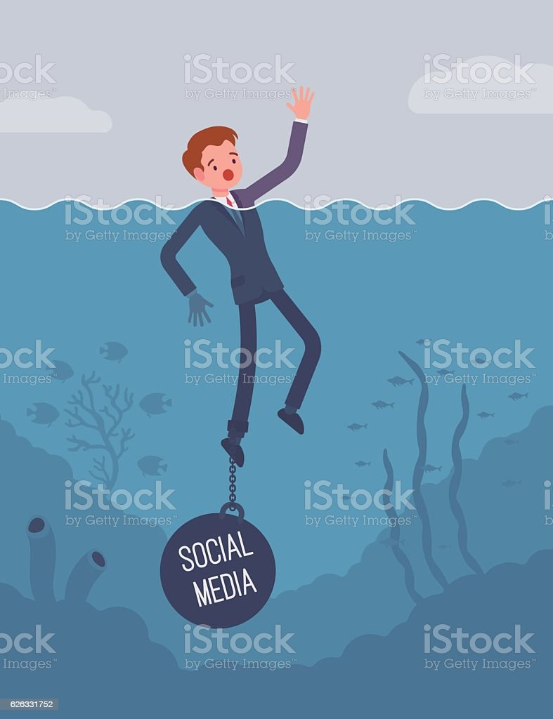 Businessman drowning chained with a weight Social Media vector art illustration