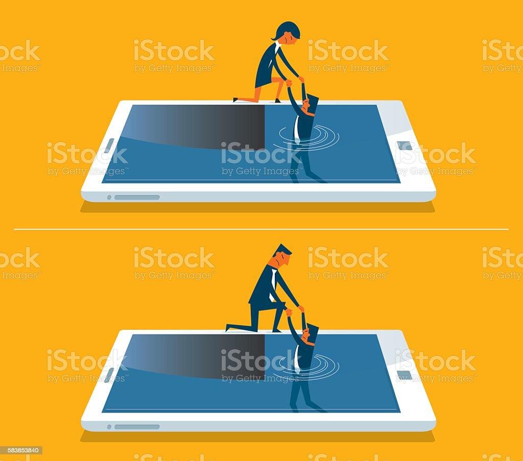 Businessman drowning in a digital tablet vector art illustration