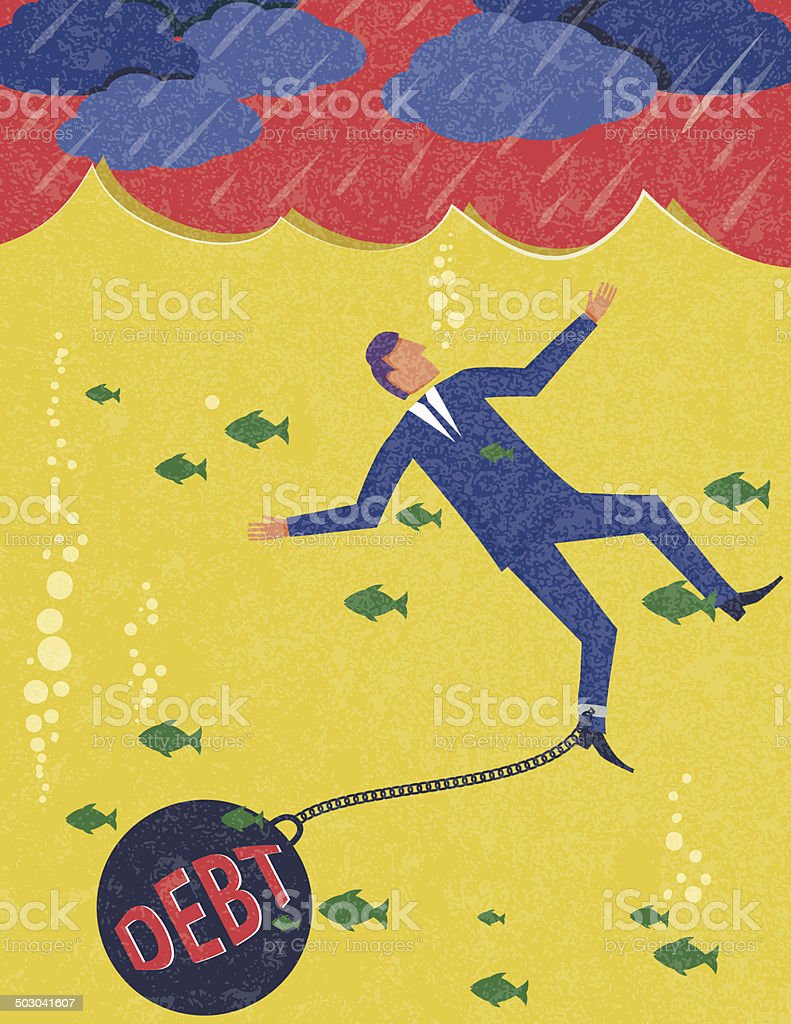 Businessman Drowning In Debt royalty-free stock vector art