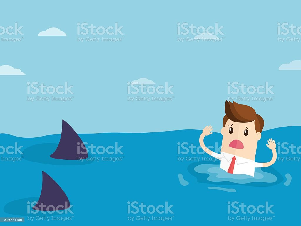 businessman drowning near hungry sharks vector art illustration