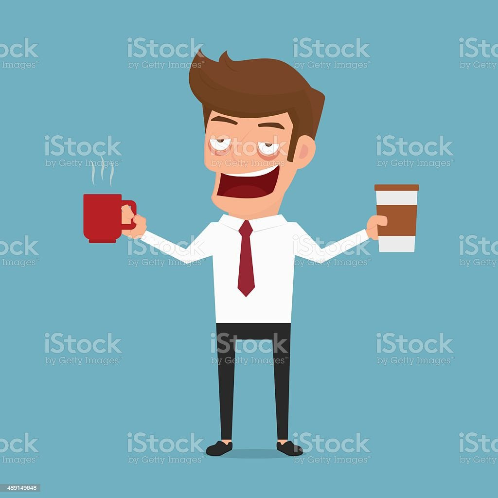 Businessman drowsiness want to drink coffee. Coffee addicted. vector art illustration