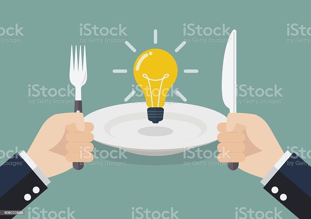 Businessman eating an idea vector art illustration