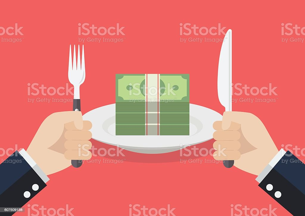 Businessman eating banknotes vector art illustration