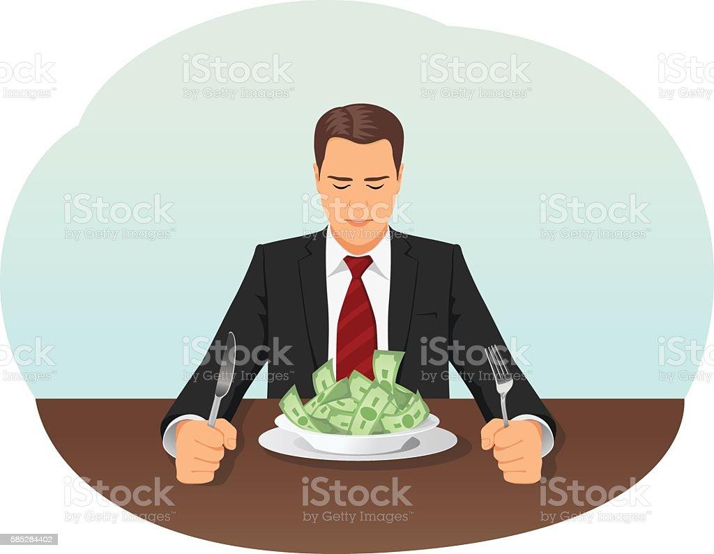 Businessman eating money vector art illustration