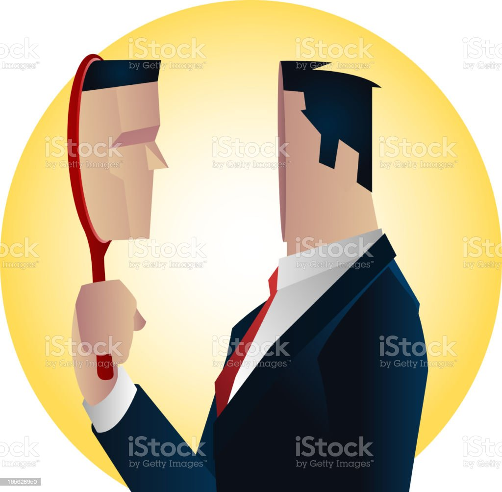Businessman Elegance Formal Suit with red tie and mirror reflection vector art illustration