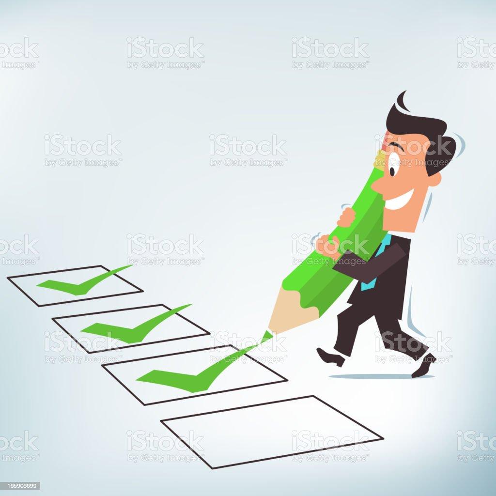 Businessman Entering Check Mark royalty-free stock vector art