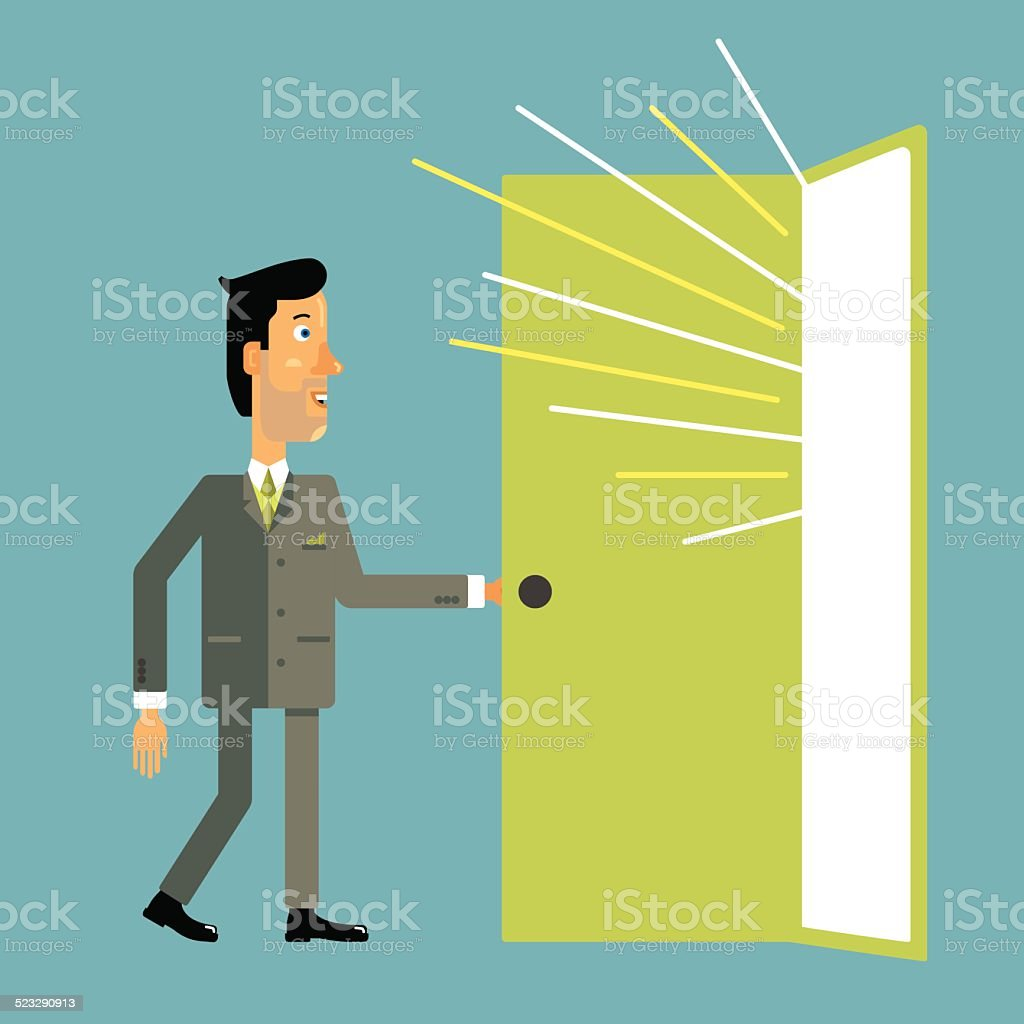 Businessman enters the open door from which light pours. vector art illustration