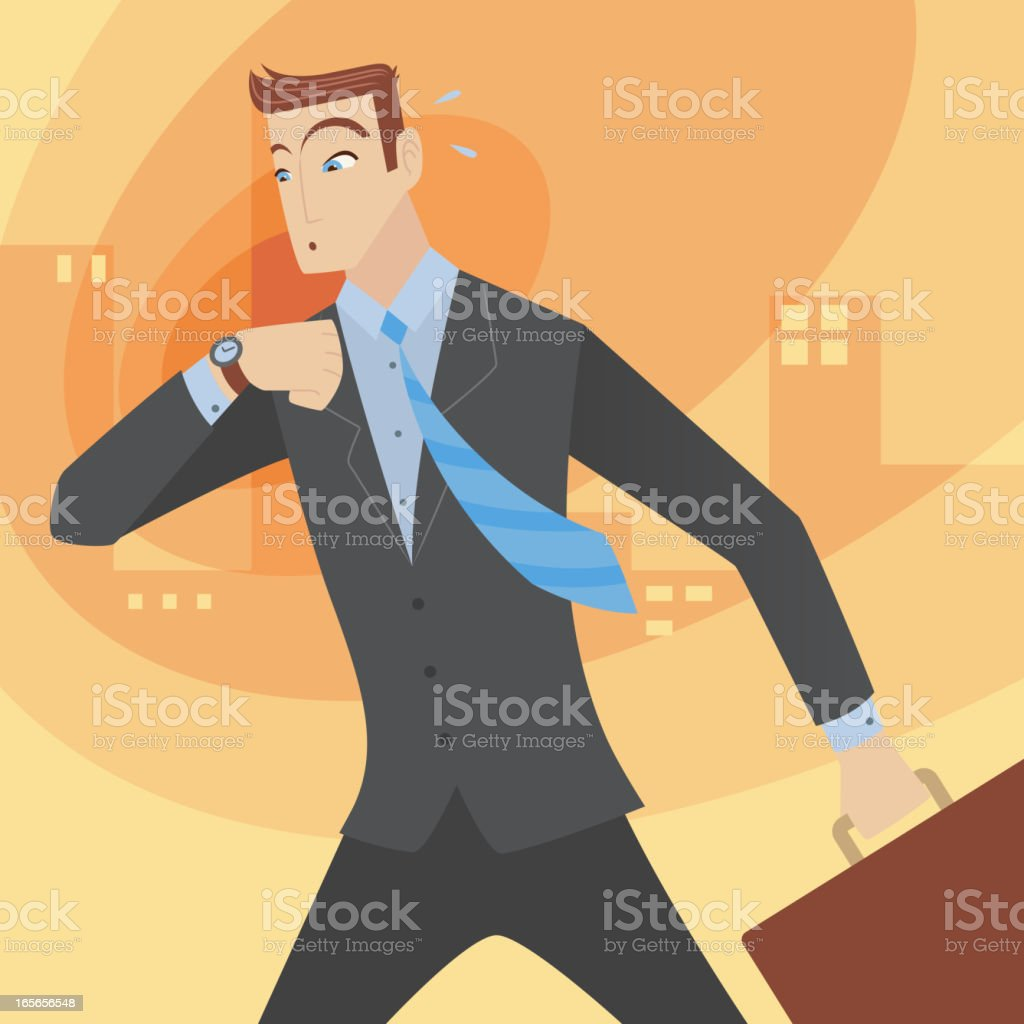 Businessman Executive in a hurry beating time royalty-free stock vector art