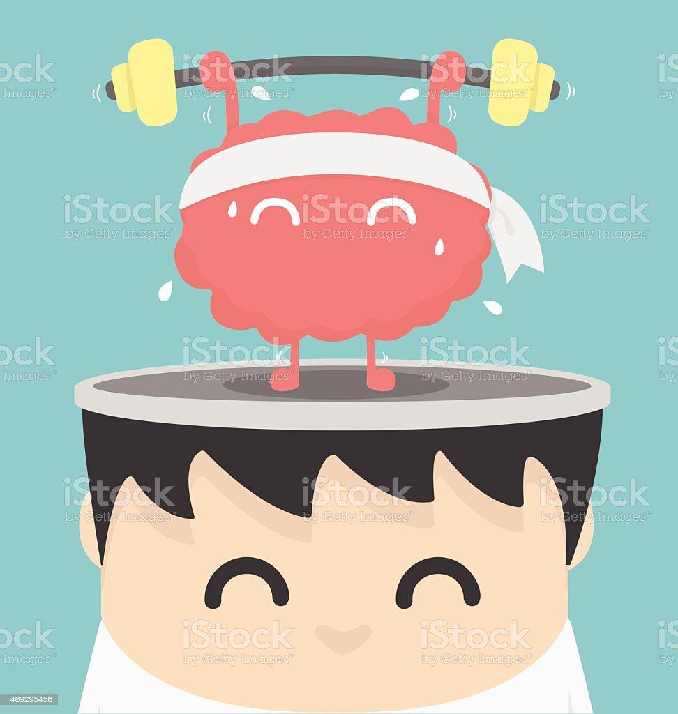 Businessman exercising  brain vector art illustration