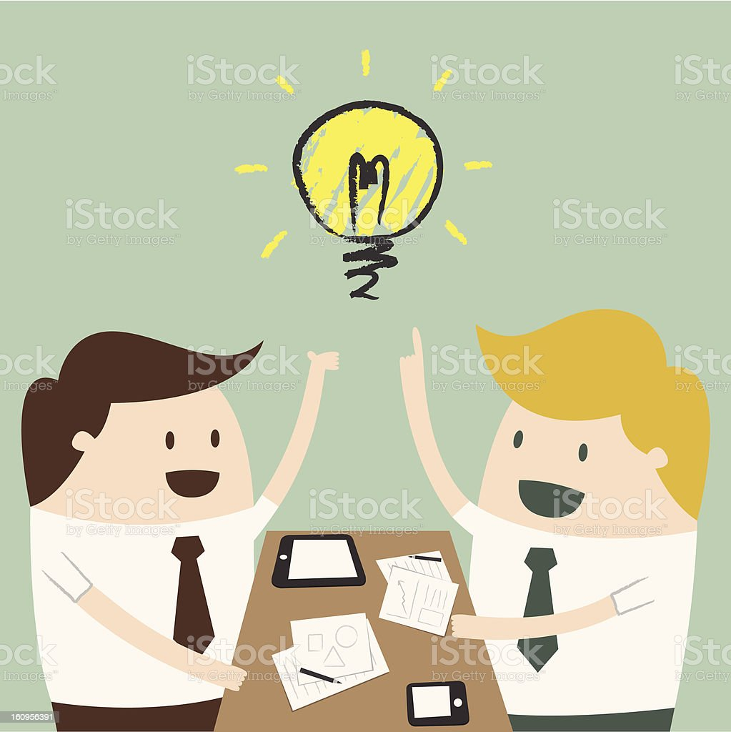 businessman explaining a financial plan to colleagues at meeting vector art illustration
