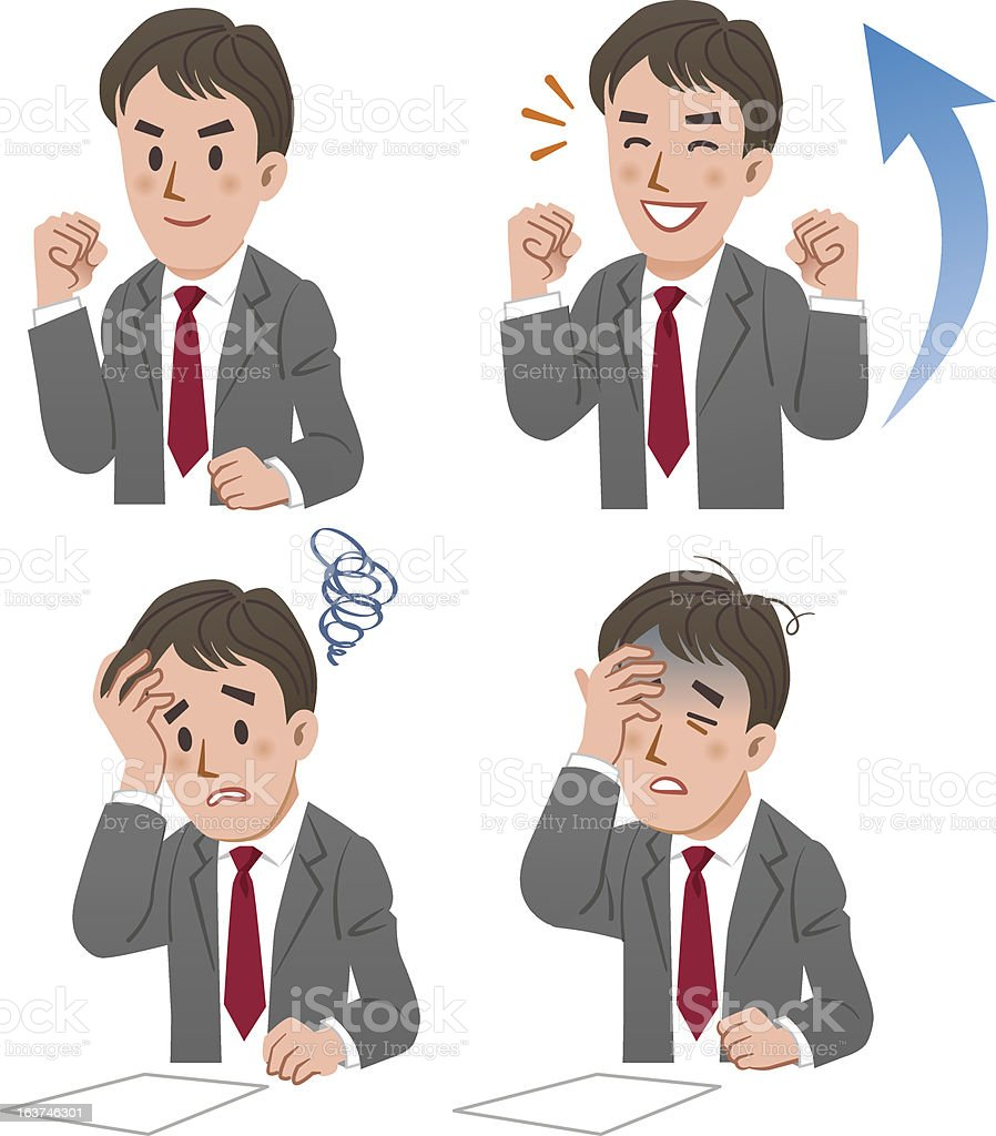 Businessman expressing rejoice and confuse royalty-free stock vector art