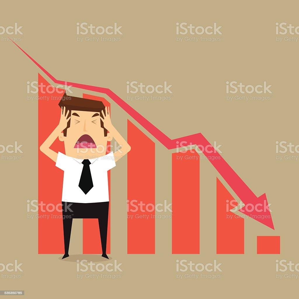Businessman fail vector art illustration