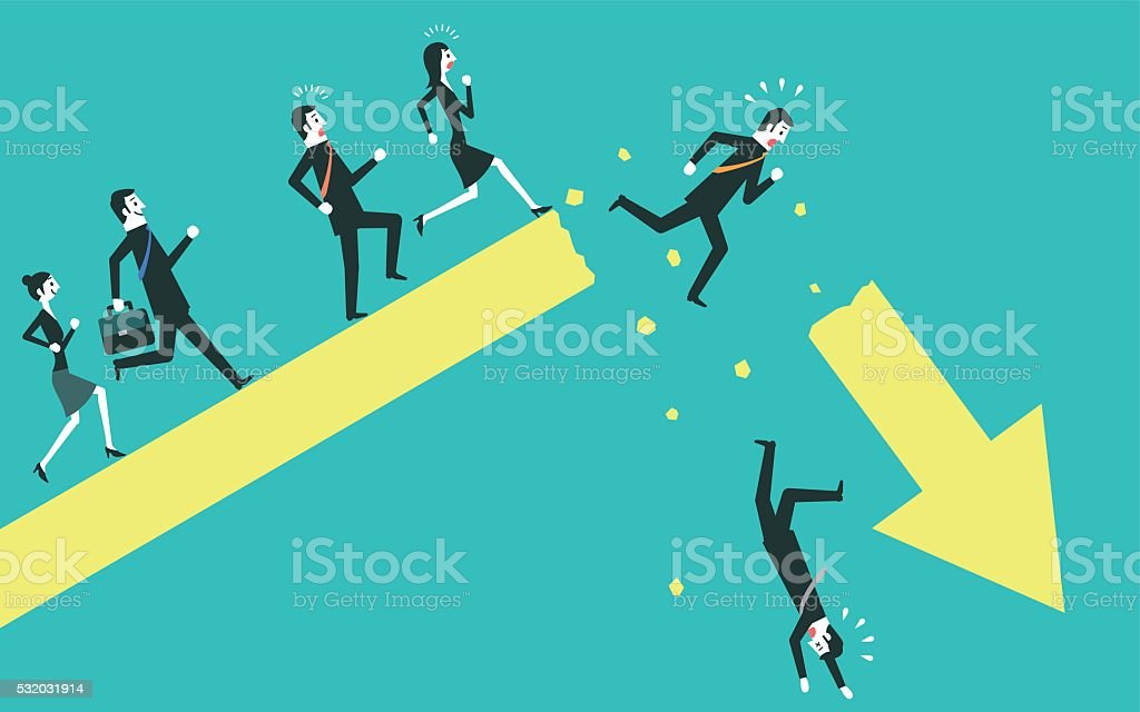 Businessman falling from a broken arrow vector art illustration