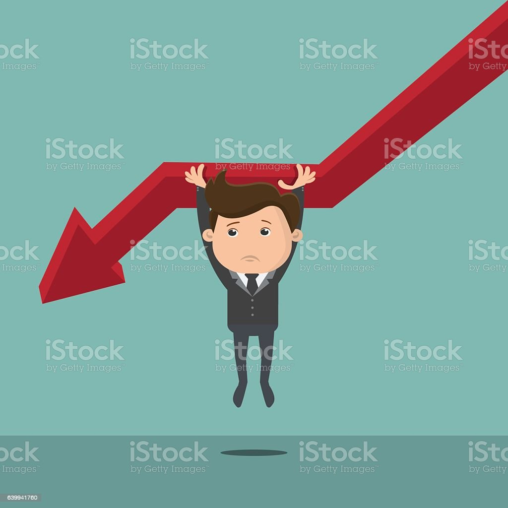 Businessman falling from the red graph chart arrow vector art illustration