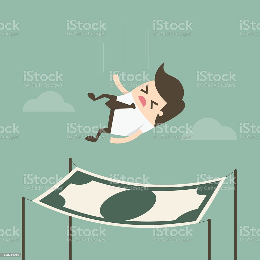 Businessman falling into a financial safety net. vector art illustration