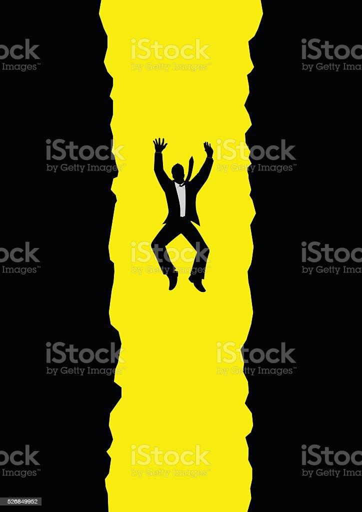 Businessman Falling Into Pit vector art illustration