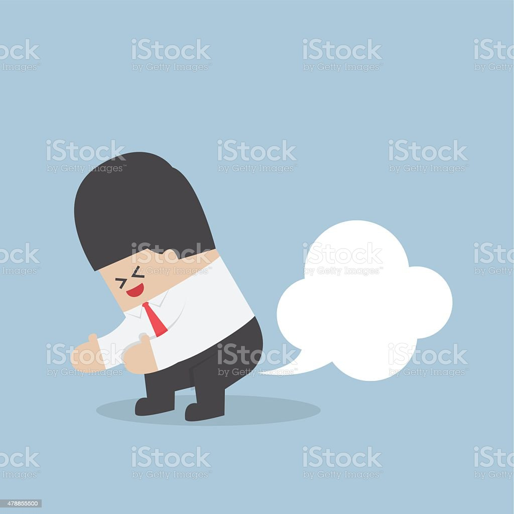Businessman farting with blank balloon out from his bottom vector art illustration