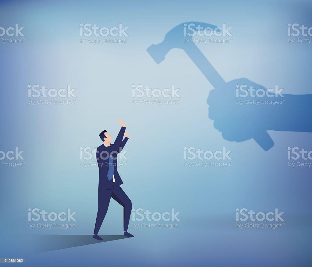 Businessman fears shadow hammer blow vector art illustration