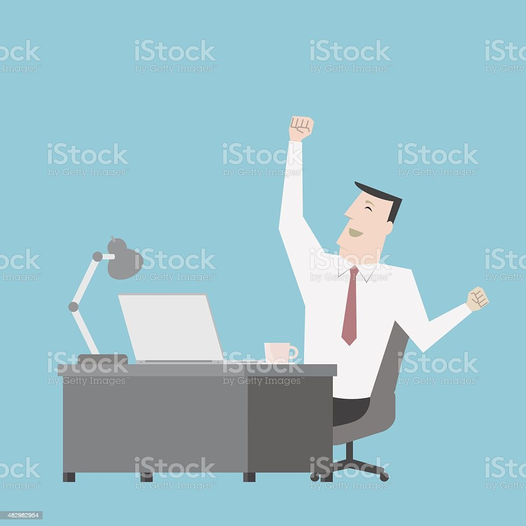 Businessman feel happy with work - Vector vector art illustration