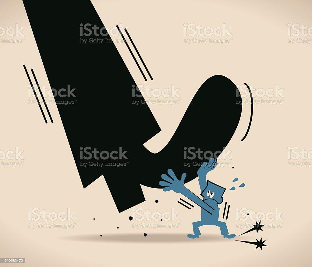 Businessman fight against big man (shoe), preserve one's independence vector art illustration