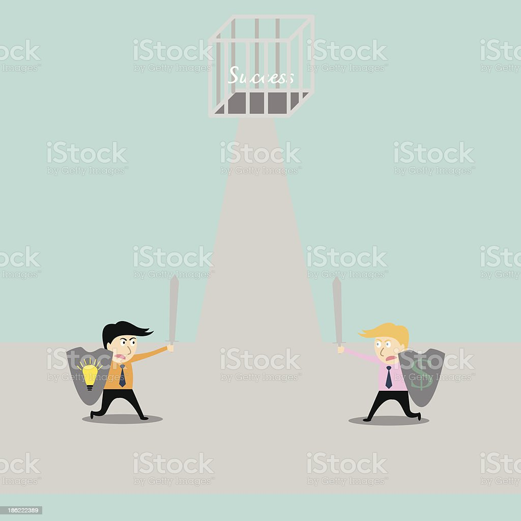 businessman fighting for success royalty-free stock vector art