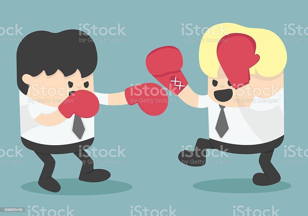 businessman fighting vector art illustration