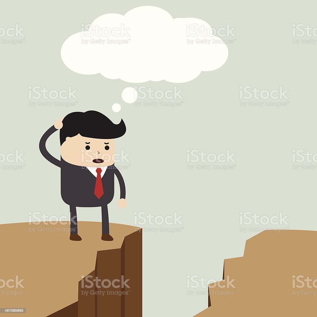 Businessman find the way to across to the opposite side vector art illustration