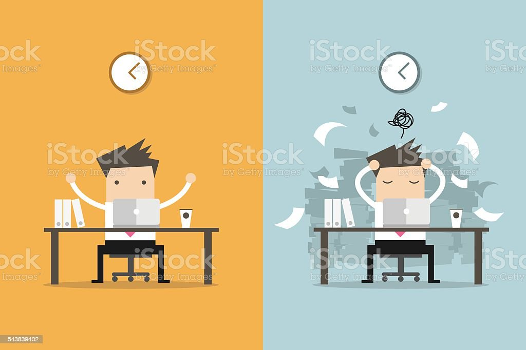 Businessman finish working and busy businessman unfinished work. vector art illustration