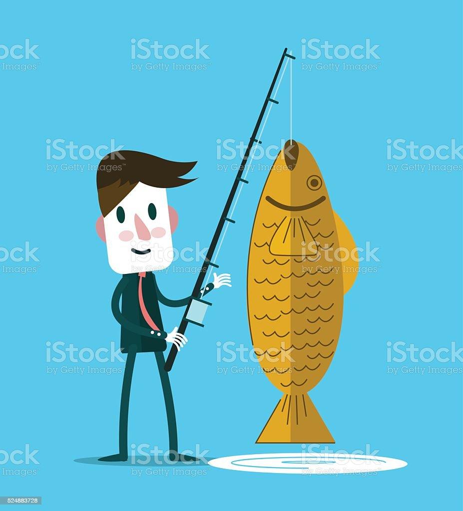 Businessman fishing a big golden fish. vector art illustration