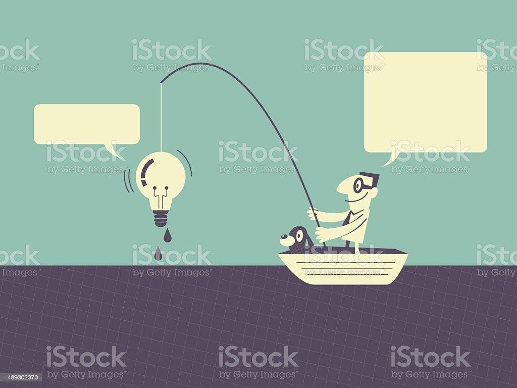 Businessman fishing ideas (idea light bulb) vector art illustration