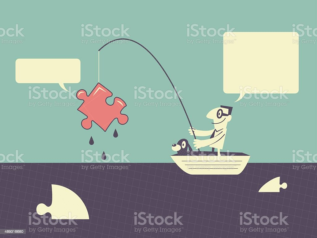 Businessman fishing missing jigsaw piece (Puzzle Solution) vector art illustration